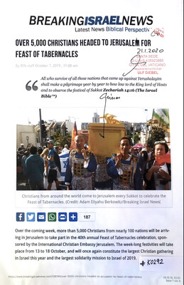 #K0292 l Breaking Israel News - Over 5.000 Christians headed to Jerusalem for Feast of Tabernacles