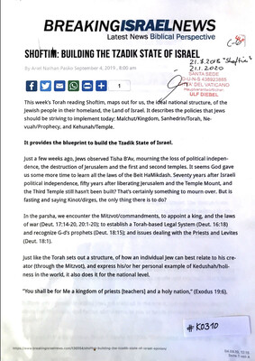 #K0310 l Breaking Israel News - Shoftim: Building the Tzadik State of Israel