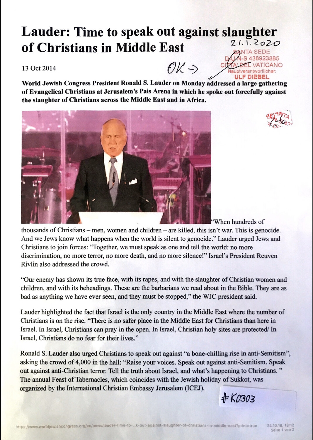 #K0303 l Lauder: Time to speak out against slaughter of Christians in Middle East