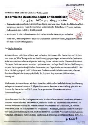 #K0307 l Jüdischer Weltkongress - Jeder vierte Deutsche denkt antisemitisch