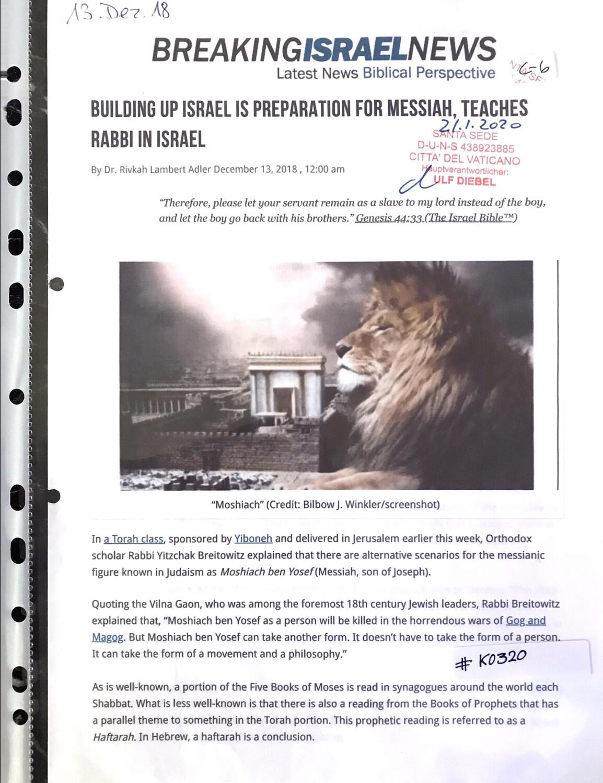 #K0320 l Breaking Israel News - Building up Israel is preparation for Messiah, teaches Rabbi in Israel