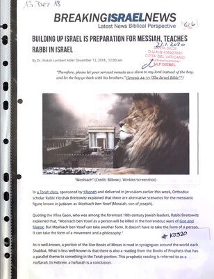 #K0320 l Breaking Israel News - Building up Israel is preparation for Messiah, teaches Rabbi in Israel