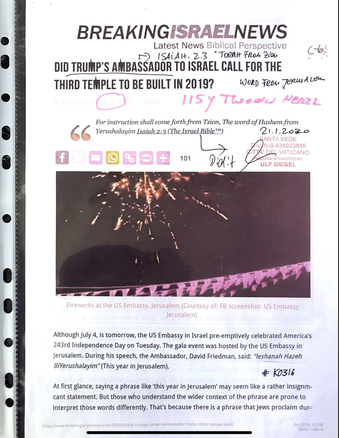 #K0316 l Breaking Israel News - Did Trump's Ambassador to Israel call for the Third Temple to be built in 2019?