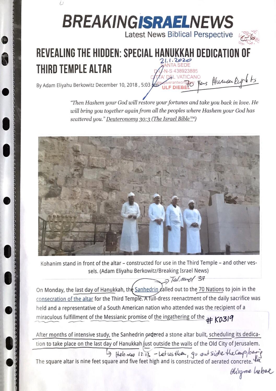 #K0319 l Breaking Israel News - Revealing the Hidden: Special Hanukkah dedication of Third Temple Altar