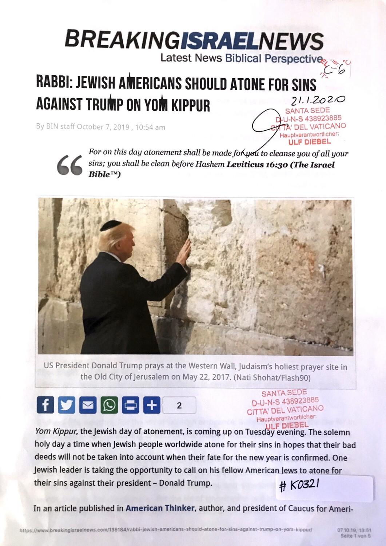 #K0321 l Breaking Israel News - Rabbi: Jewish Americans should atone for sins against Trump on Yom Kippur