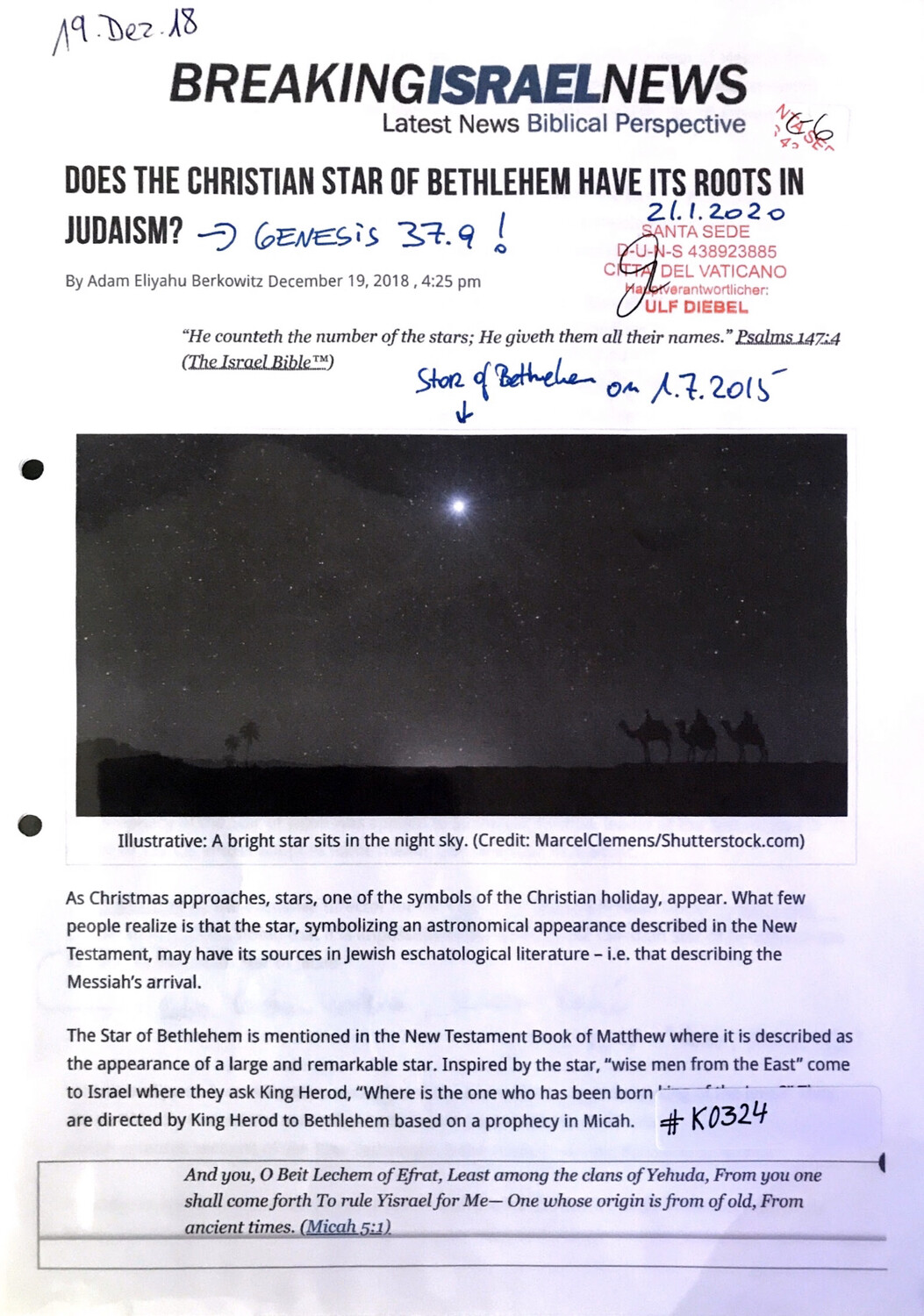 #K0324 l Breaking Israel News - Does the Christian star of Bethlehem have its roots in Judaism?