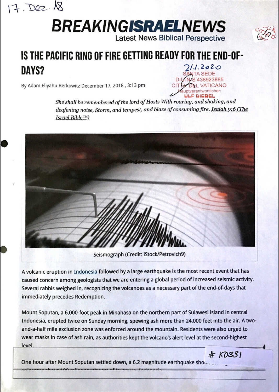 #K0331 l Breaking Israel News - Is the pacific ring of fire getting ready for the End-of-Days?