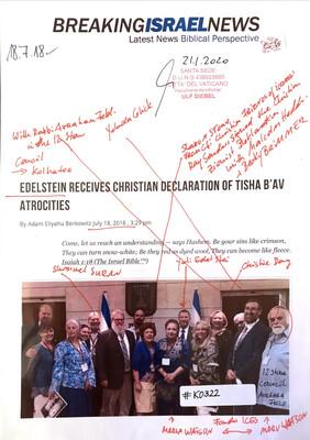 #K0322 l Breaking Israel News - Edelstein receives Christian Declaration of Tisha B'Av Atrocities