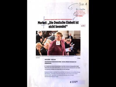 """#K0329 l Reuters: Merkel: """"Die Deutsche Einheit ist nicht beendet"""""""