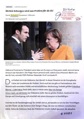 #K0337 l Welt - Merkels Schweigen wird zum Problem für die EU