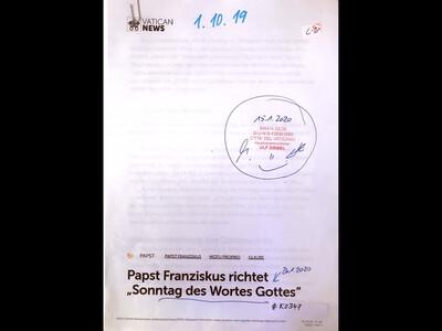 """#K0347 l Vatican News - Papst Franziskus richtet """"Sonntag des Wortes Gottes"""""""