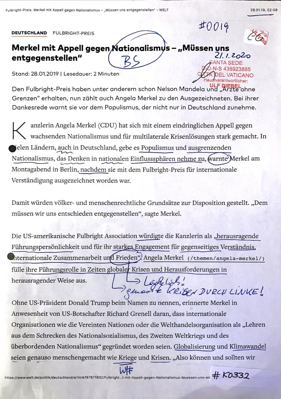 """#K0332 l Welt - Merkel will mit Appell gegen Nationalismus - """"Müssen uns entgegenstellen"""""""