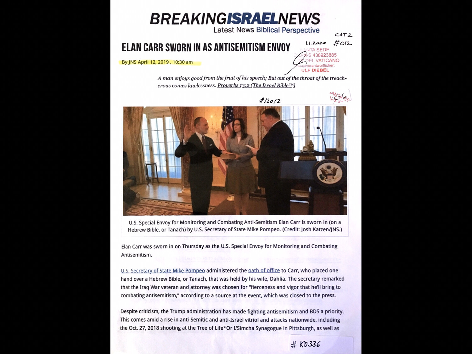 #K0336 - Breaking Israel News - Elan Carr sworn in as antisemitism envoy