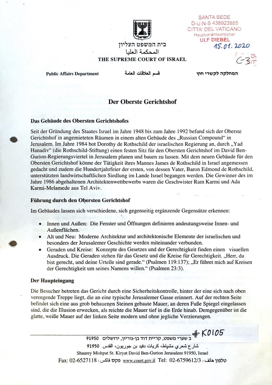 #K0105 l The Supreme Court of Israel - Der Obergerichtshof Israel