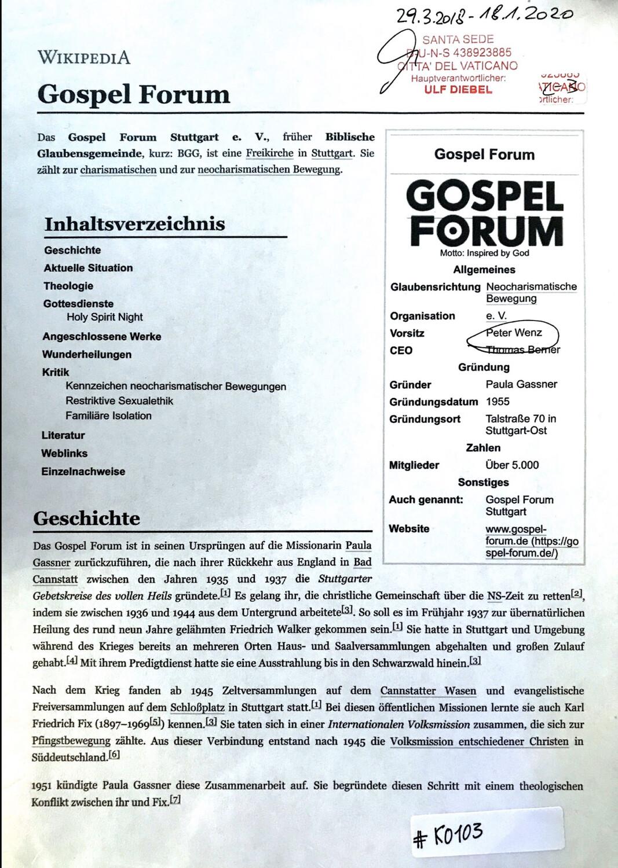 #K0103 l Gospel Forum Stuttgart e.V.