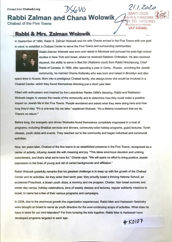 #K0107 l Rabbi Zalman and Chana Wolowik - Chabad of the Five Towns l The Jewish Messiah? Chabad.org