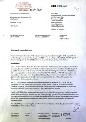 #K0044 l Beschwerde gegen Bescheid l Generalstaatsanwaltschaft Berlin - An den leitenden Oberstaatsanwalt Jörg Raupach
