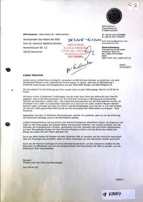 #K0054 l Brief an den Vorsitzenden des Rates der EKD - Professor Dr. Heinrich Bedford Strohm
