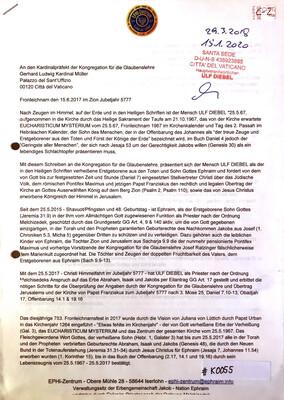 #K0055 l Fronleichnam den 15.6.2017 im Zion Jubeljahr 5777 - Ein Brief an den Kardinalpräfekt der Kongregation für die Glaubenslehre, Gerhard Ludwig Kardinal Müller