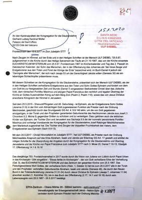 #K0059 l Fronleichnam, den 15.6.2017 Im Zion Jubeljahr 5777 l Brief an den Kardinalpräfekt der Kongregation für die Glaubenslehre - Gerhard Ludwig Kardinal Müller