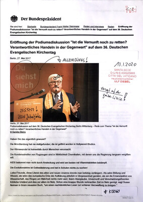 """#K0060 l Der Bundespräsident - Frank Walter Steinmeier l Eröffnung der Podiumsdiskussion """"Ist die Vernunft noch zu retten? Verantwortliches Handeln in der Gegenwart"""" l 36. Evangelischer Kirchentag"""