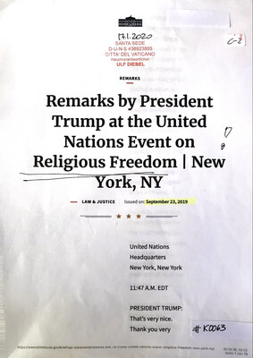 #K0063 l Remarks by President Trump at the United Nations Event on Religious Freedom l New York,NY - The White House