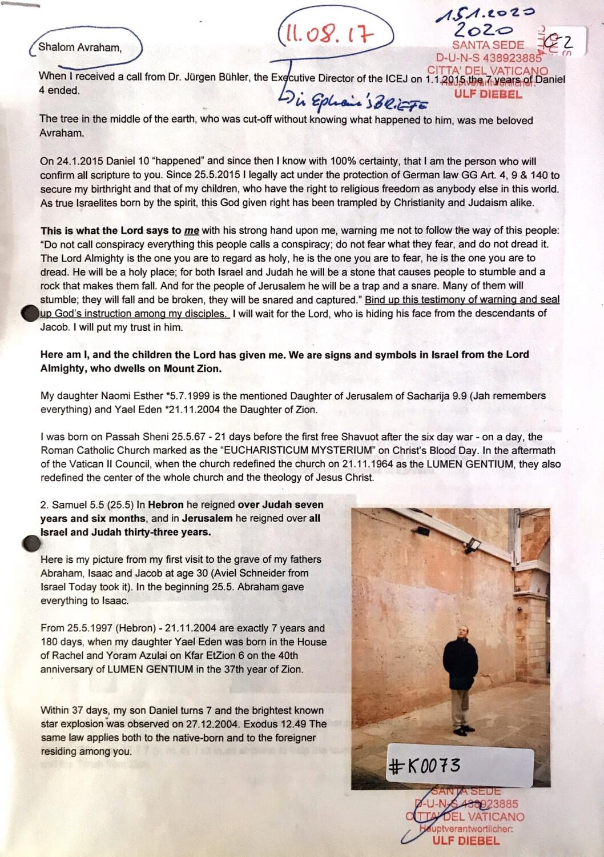 #K0073 l Letter to Avraham - August 2017 l Written by Ulf Diebel