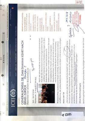 #K0085 l ICEJ - Generalkonsul Dr. Dan Shaham kehrt nach Israel zurück, written by Lisa Schmid