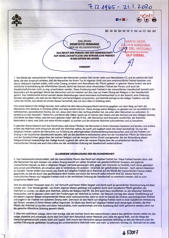#K0007 l Erklärung Dignitatis Humanae über die Religionsfreiheit