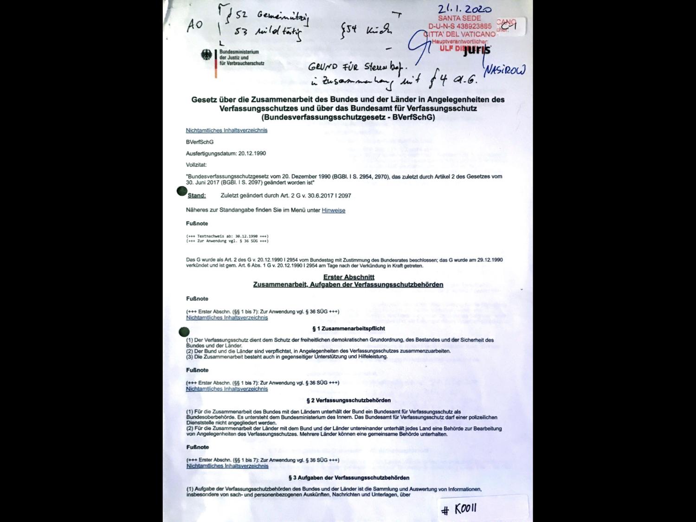 #K0011 l Gesetz über die Zusammenarbeit des Bundes und der Länder in Angelegenheiten des Verfassungsschutzes und über das Bundesamt für Verfassungsschutz (Bundesverfassungsschutzgesetz - BVerfSchG)