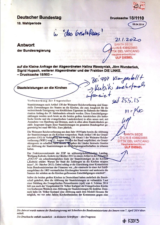 #K0013 l Staatsleistungen an die Kirchen - Antwort der Bundesregierung l Deutscher Bundestag - 18.Wahlperiode