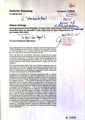 #K0014 l 70 Jahre Potsdamer Abkommen - Kleine Anfrage l Deutscher Bundestag-18.Wahlperiode