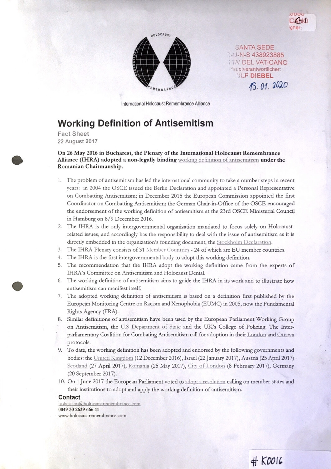 #K0016 l Working Definition of Antisemitism