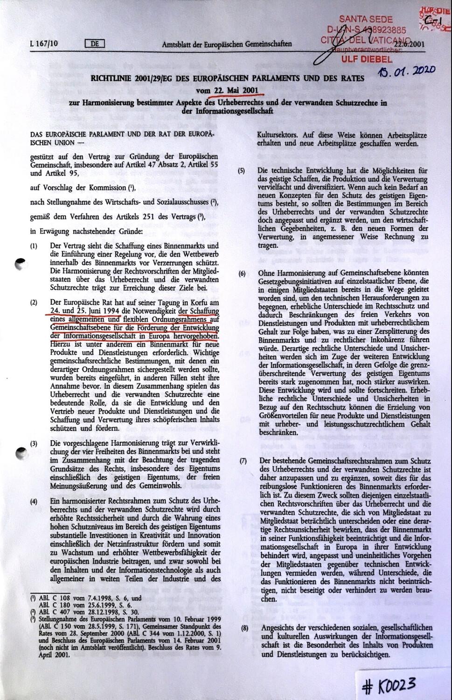 #K0023 l Richtlinie 2001l29lEG des Europäischen Parlaments und des Rates vom 22.Mai 2001