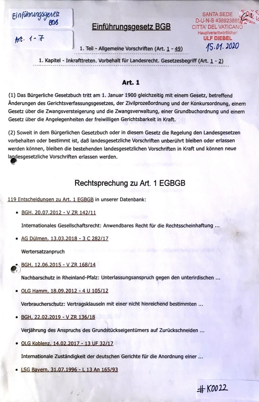 #K0022 l Einführungsgesetz - Artikel 1 l Rechtsprechung zu Art.1 EGBGB