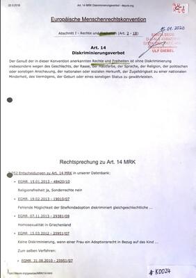 #K0024 l Europäische Menschenrechtskonvention l Art.14 - Diskriminierungsverbot