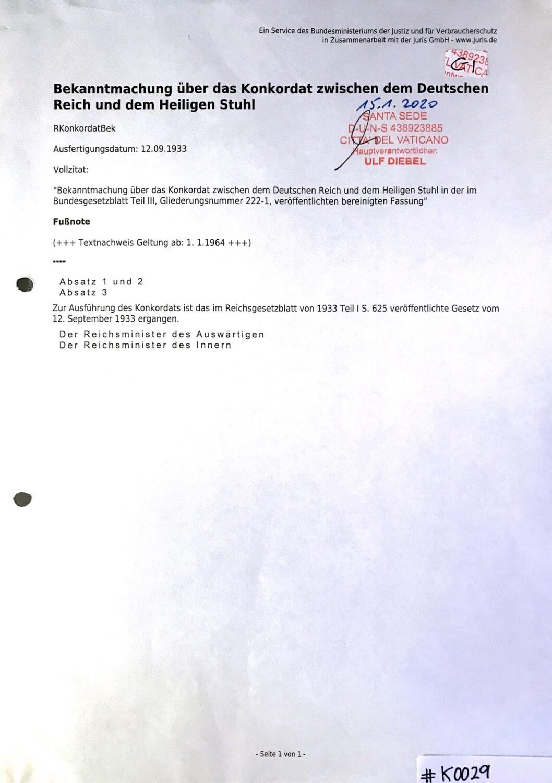 #K0029 l Bekanntmachung über das Konkordat zwischen dem Deutschen Reich und dem Heiligen Stuhl