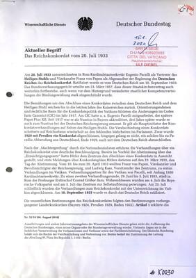#K0030 l Das Reichskonkordat vom 20.Juli 1933 l Deutscher Bundestag