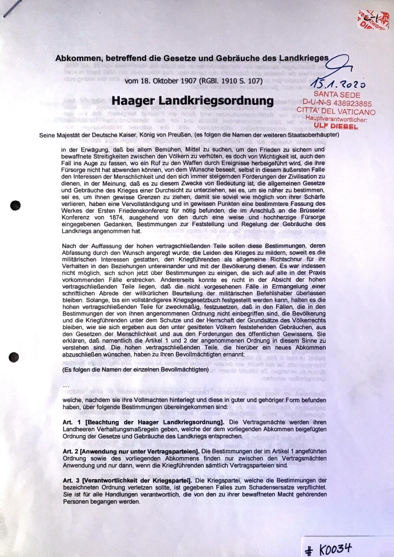 #K0034 l Haager Landkriegsordnung vom 18.Oktober 1907