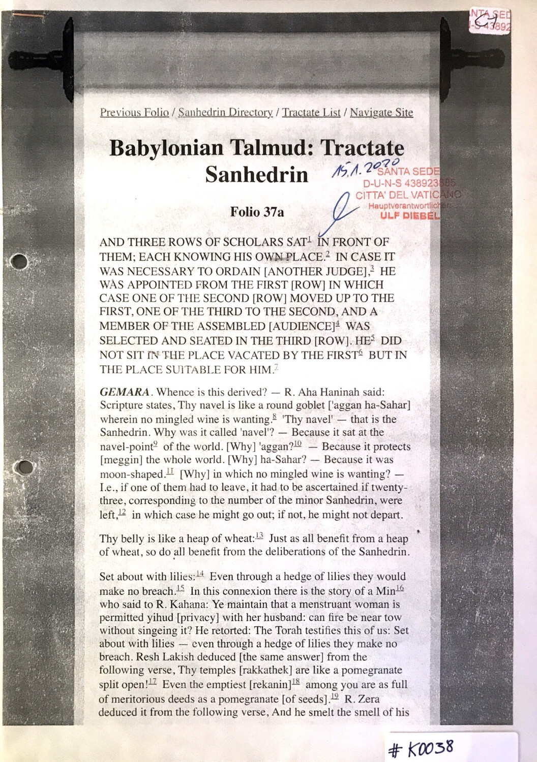 #K0038 l Babylonian Talmud: Tractate Sanhedrin
