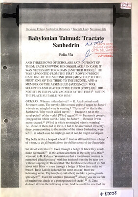 #K0038 l Babylonian Talmud: Tractate Sanhedrin