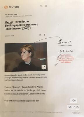 #U012 l Reuters l Merkel - Israelische Siedlungspolitik erschwert Palästinenser-Staat