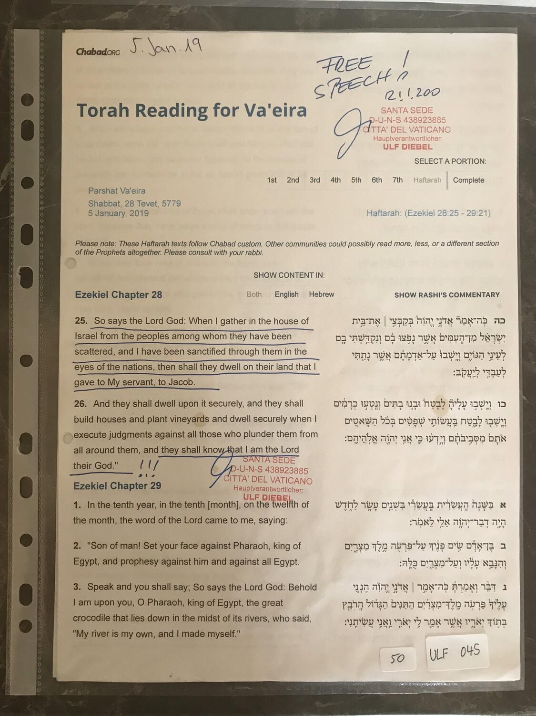 #U045 l Torah Reading for Va'eira - 28 Tevet 5779 l 5th of January 2019
