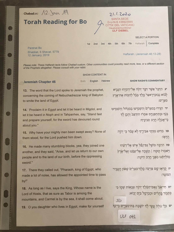 #U042 l Torah Reading for Bo - 6 Shevat 5779 l 12th of January 2019