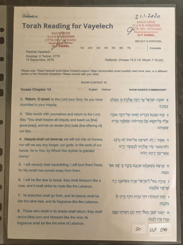 #U044 l Torah Reading for Vayelech - 6 Tishrei 5779 l 15th of September 2018