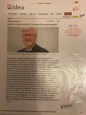 """#K0220 l EKD-Ratsvorsitzender - Bedford-Strohm kritisiert """"irrsinnige Rüstungsausgaben"""""""