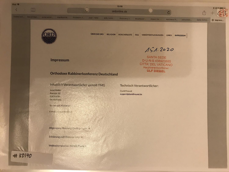 #K0140 l ORD - Orthodoxe Rabbinerkonferenz Deutschland l Impressum