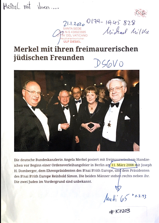 #K0203 l Merkel mit ihren freimaurerischen jüdischen Freunden