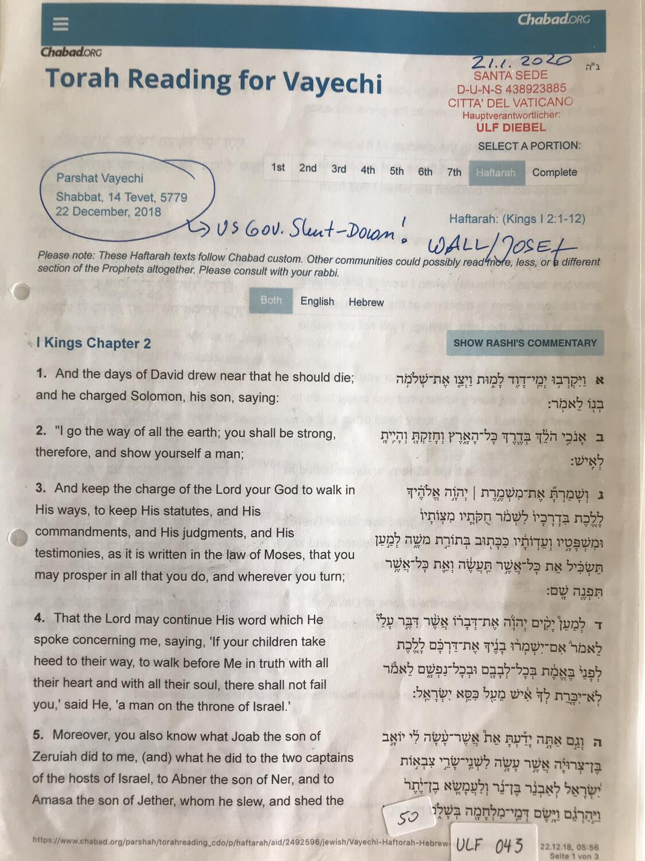 #U043 l Torah Reading for Vayechi - 14 Tevet 5779 l 22nd of December 2018