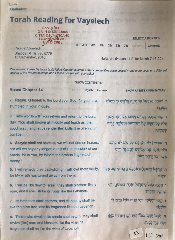 #U040 l Torah Reading for Vayelech l 6 Tishrei 5779 l 15th of September 2018